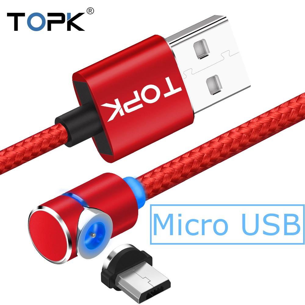 Магнитный кабель TOPK 2 метра ПОВОРОТ 90° USB 2.0 для зарядки AM51 Miсro USB (КРАСНЫЙ)