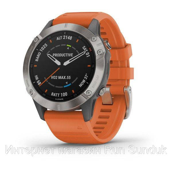 Fenix 6 - Pro and Sapphire Editions Sapphire - Titanium with Ember Orange Band