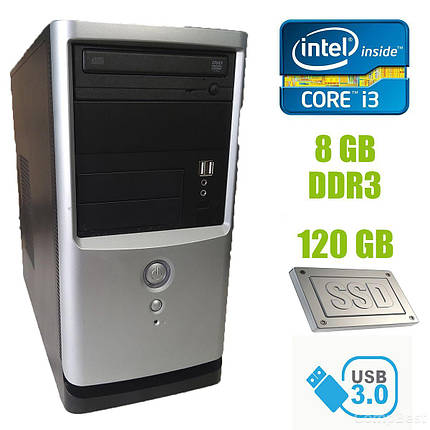Gigabyte Tower / Intel Core i3-2120 (2 (4) ядра по 3.30 GHz) / 8 GB DDR3 / new! 240 GB SSD / 350W / USB, SATA, PCI 3.0, фото 2