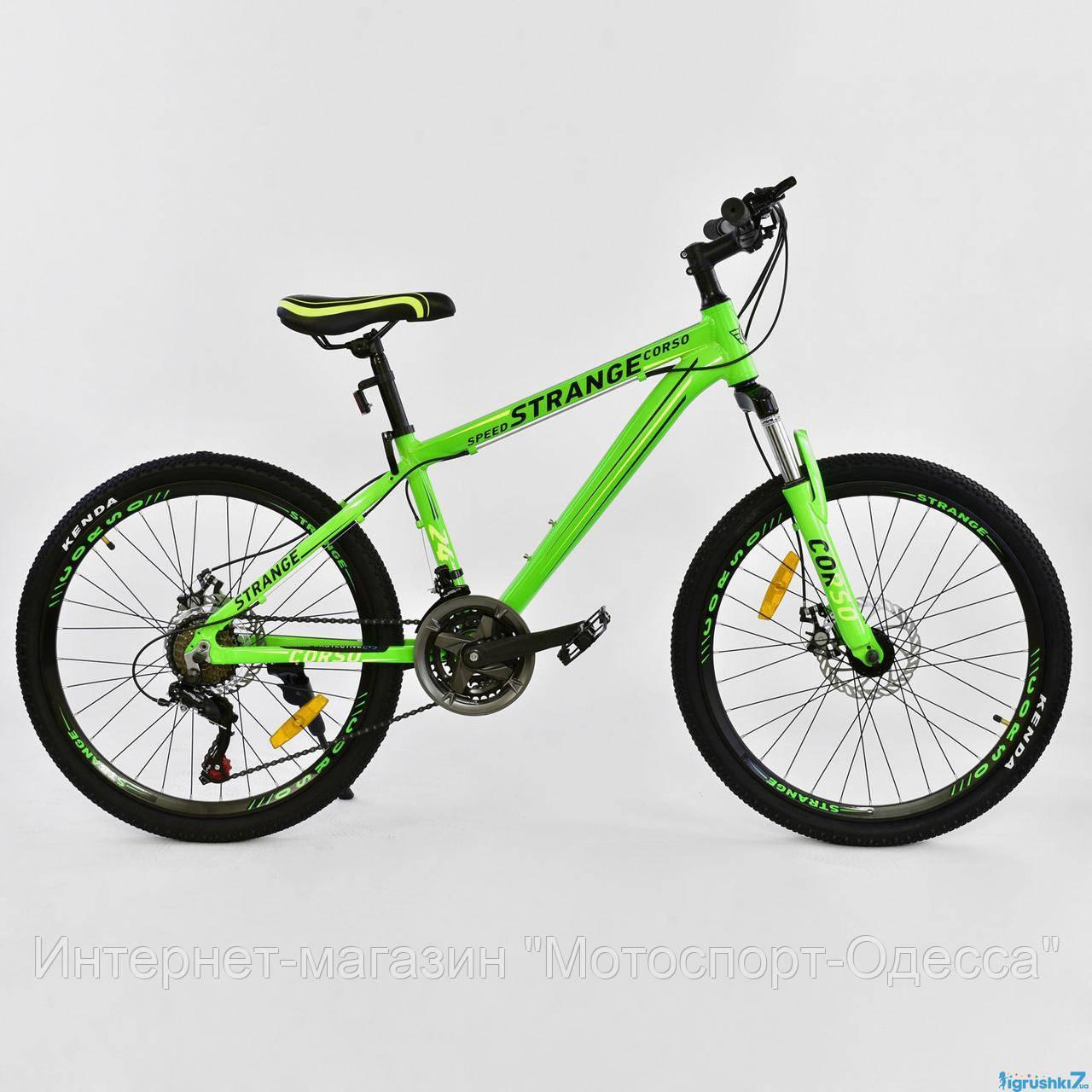Подростковый алюминиевый спортивный велосипед 24 дюйма 13 рама  CORSO STRANGE, фото 1