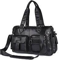 Мужская кожаная сумка-портфель саквояж Norfolk черный (00879)