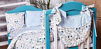 Детское постельное белье из сатина в детскую  кроватку с защитой и карманом (разные цвета) машинки, фото 1