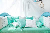 Подушки - бортики 12 шт 30х30см в кроватку (в расцветках), фото 1