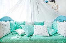 Подушки - бортики 12 шт 30х30см в кроватку (в расцветках)