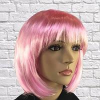 Парик каре светло-розовый 35 см.