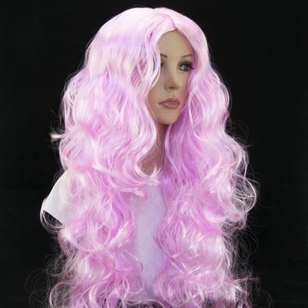 Парик длинный светло-розовый волнистый с пробором без челки 80 см