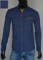 Мужская рубашка приталенная темно-синяя Турция 2300