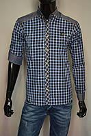 Мужская рубашка с длинным рукавом и джинсовыми вставками голубая клетка Турция 2079