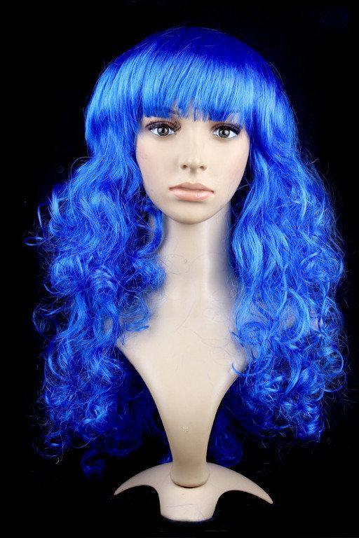 Парик длинный волнистый синий с челкой 62 см