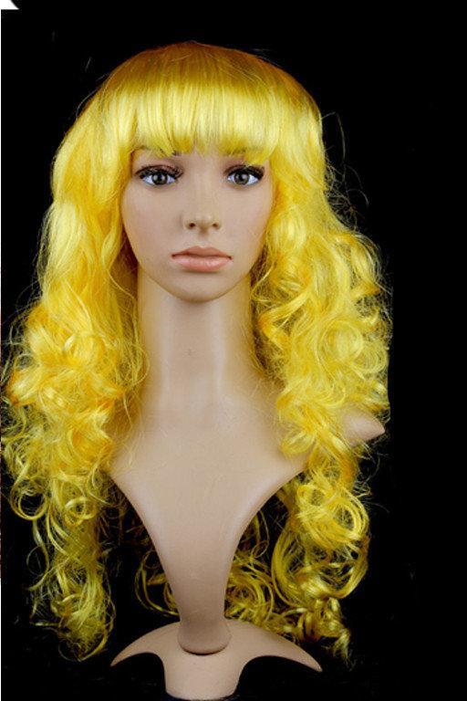 Перука довгий жовтий каскад хвилястий Золотоволоска 62 см