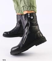 Ботинки высокие женские черные из натуральной кожи на низком ходу, фото 1