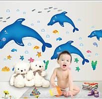 "Фотообои на стену CHINA Фотообои на стену виниловые ""Дельфины"" SKU_AY9168"