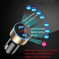 АВТО зарядка USB 2А, тестер,вольтметр, амперметр в прикуриватель,  двойной USB