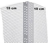 Уголок пластиковый ПВХ с сеткой 2,5 м.п. ширина сетки на углах 10х15 см. Вертекс (Чехия)