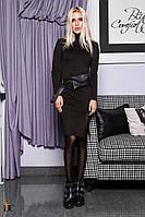 Трикотажное платье с кожаными вставками Р 2341 #O/V