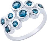 Серебряное кольцо SilverBreeze Серебряное кольцо SilverBreeze с натуральным топазом Лондон Блю (1655399) 17.5 размер SKU_1655399-17.5