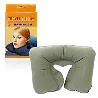 Дорожная надувная подушка рогалик Travel Pillow зеленая 151045