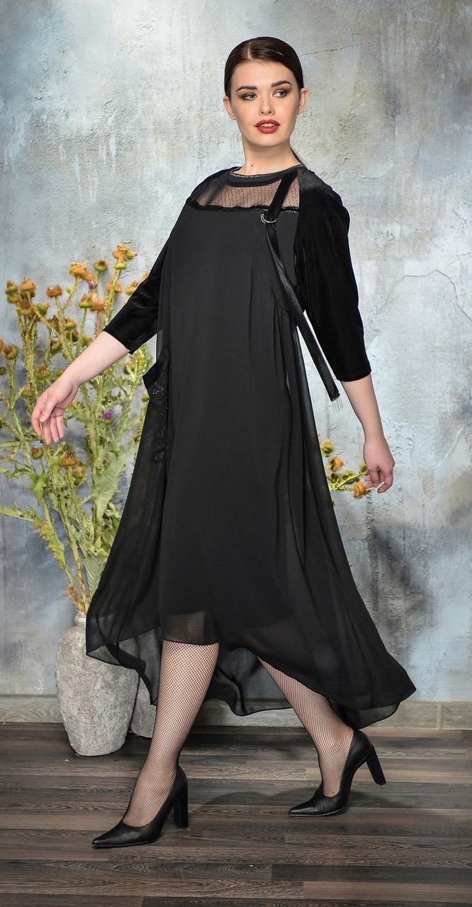 Платье Anna Majewska-А276 N белорусский трикотаж, черный, 54