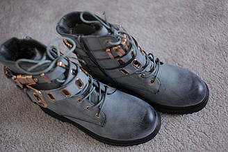 Женские ботинки ковбойки кожа темно серые 38-39