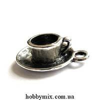 """Метал. подвеска """"чашечка с блюдцем"""" 3D серебро (1,5х2 см)  3 шт в уп."""