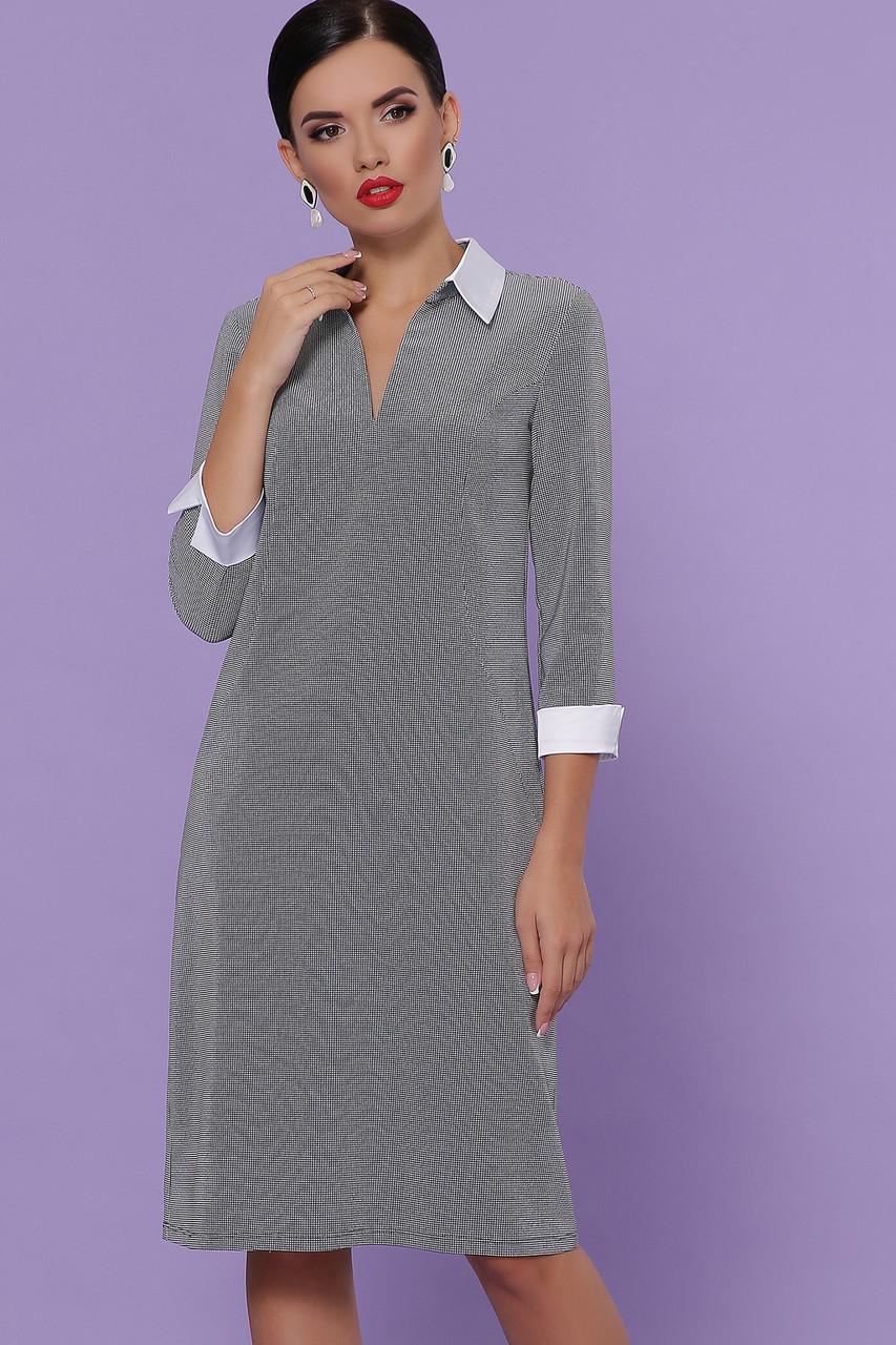 Женское платье лапка мелкая черная Даниэла д/р