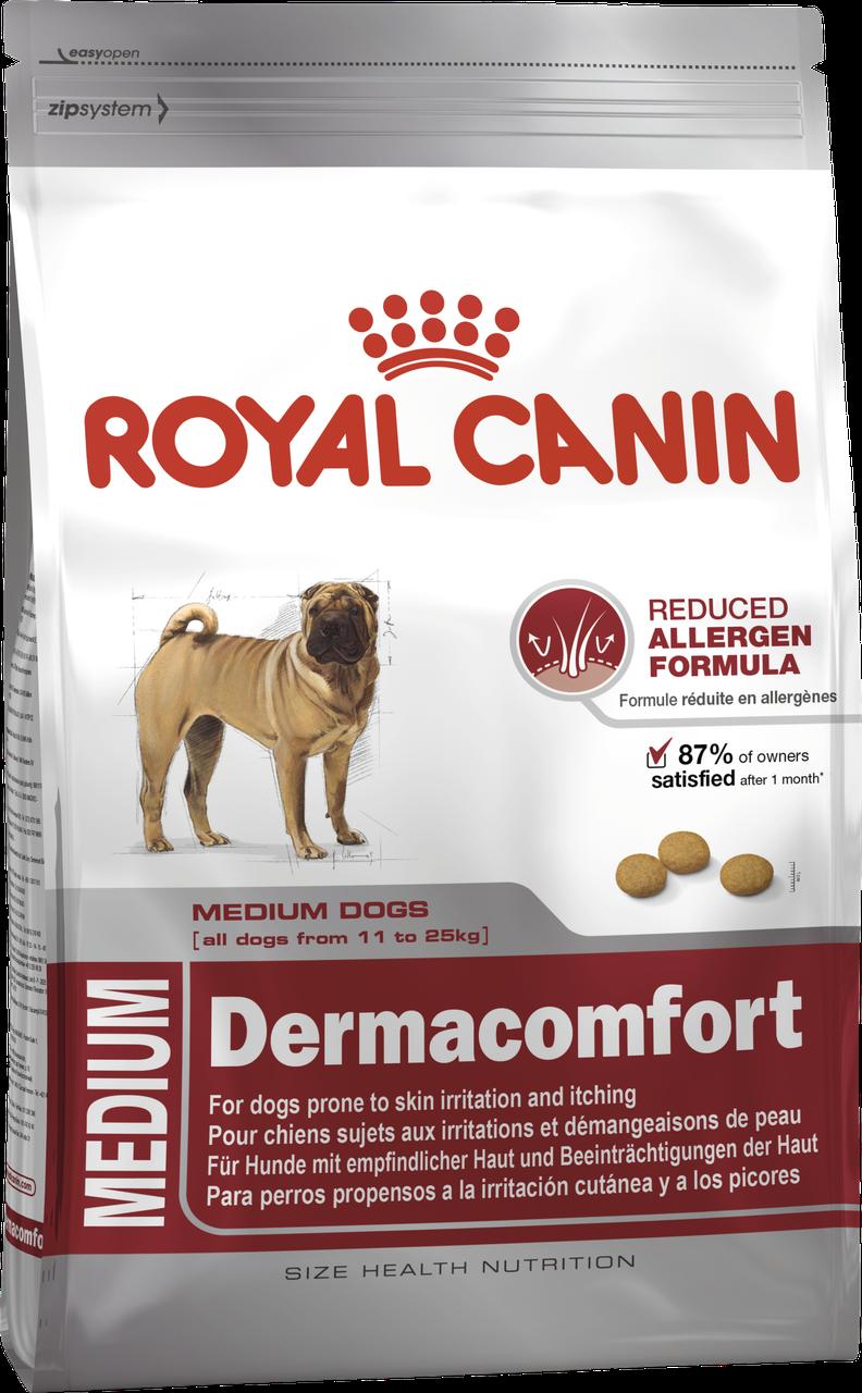 Корм для собак средних пород склонных к радражению кожи Royal Canin MEDIUM DERMACOMFORT 3 кг