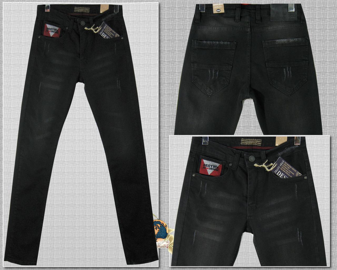 Модные мужские зауженные джинсы чёрного цвета Турция