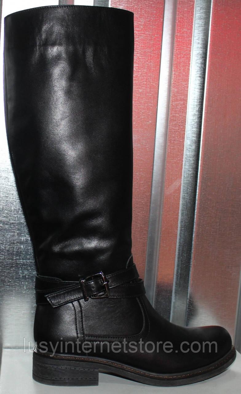 Сапоги женские зимние кожаные на низком каблуке от производителя модель РИ1114