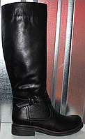 Сапоги женские зимние кожаные на низком каблуке от производителя модель РИ1114, фото 1