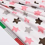 """Лоскут сатина  """"Пряничные звёзды"""" коричневые, лососевые, серые № 1500с, размер 40*75 см, фото 3"""