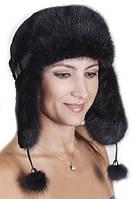 Женская шапка ушанка из меха Рекса с Норкой Yn-20  Черный