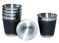 Набор 6 дорожных стальных стопок (рюмок) Dynasty 50мл в чехле, фото 1