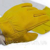 Перчатки кожаные с нарукавником Premium. Рукавиці шкіряні з нарукавником.
