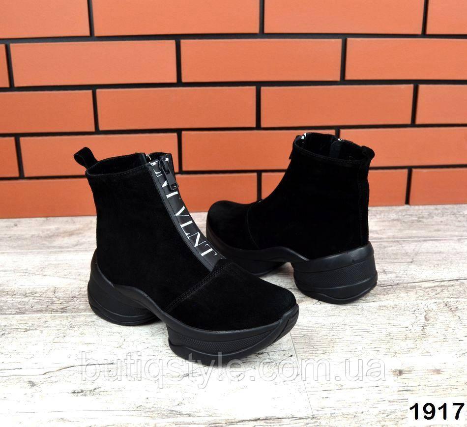 Женские черные ботинки натур.замша на платформе Деми