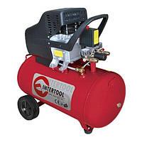Компрессор 50 л, 1.5 кВт, 220 В, 8 атм, 206 л/мин. INTERTOOL PT-0003