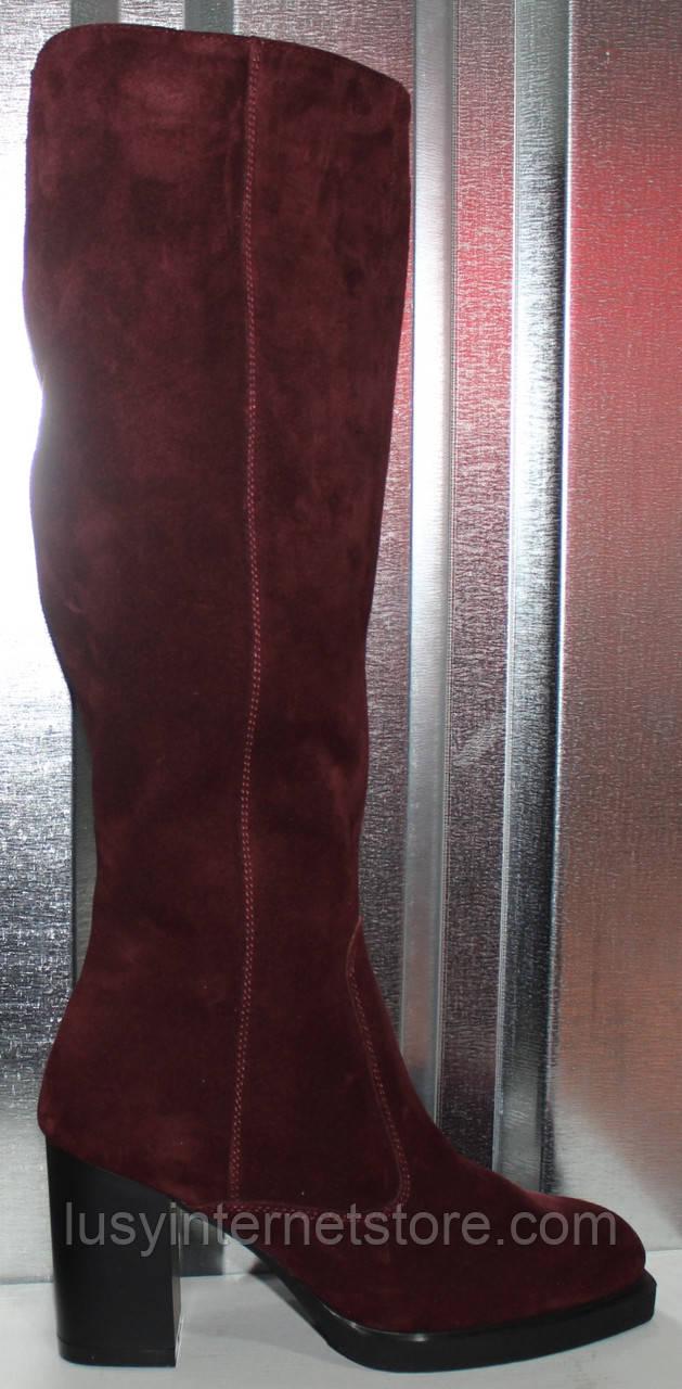 Сапоги замшевые женские зимние на каблуке от производителя модель РИ7917-2