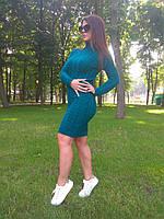 Вязаное женское платье осеннее теплое под горло цвет бутылка туника женская вязанная