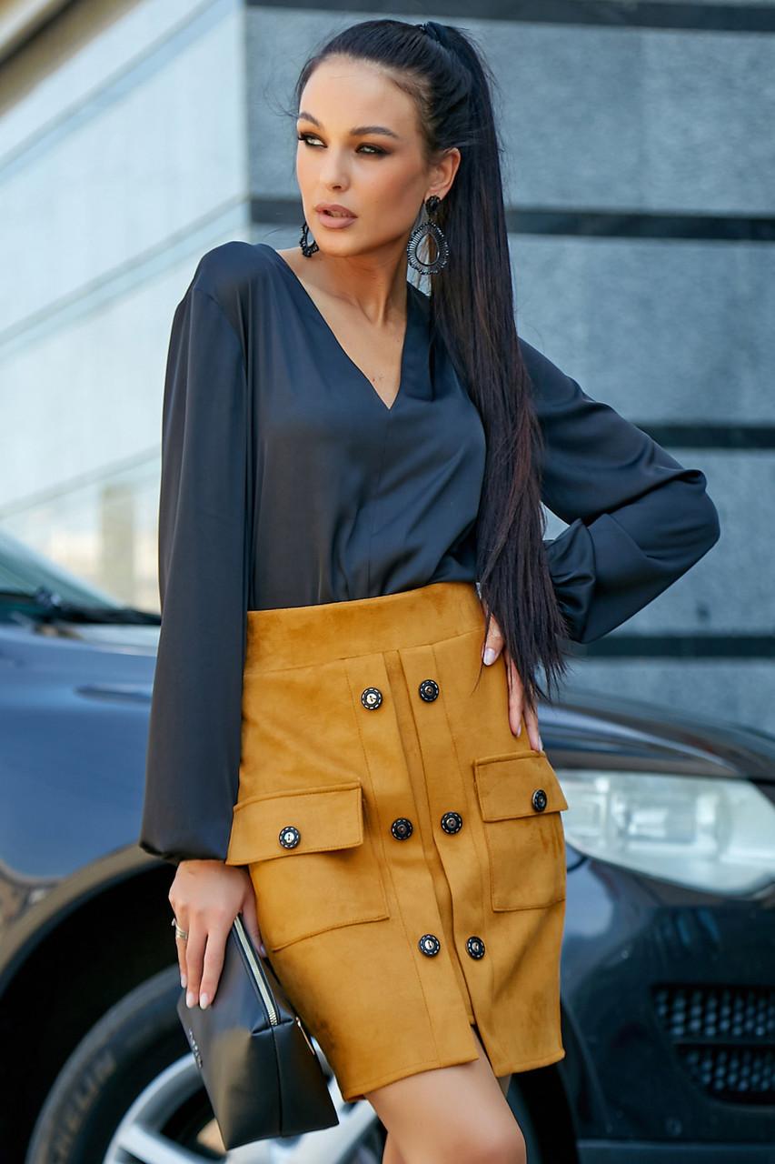 Женская шёлковая чёрная блузка повседневная молодёжная нарядная офисная