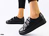 Кеды женские кожаные черные на липучках