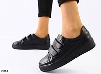 Кеды женские кожаные черные на липучках, фото 1