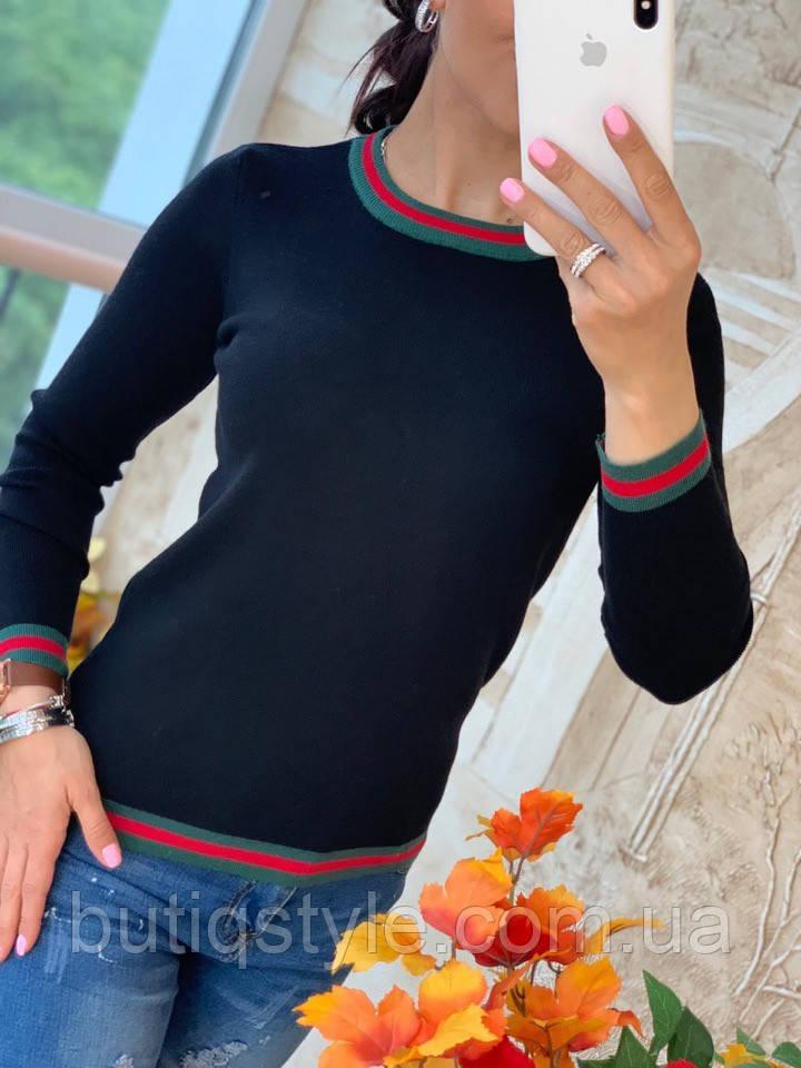Женский тонкий свитер с контрастными линиями черный, серый