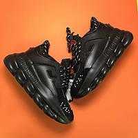 Versace Chain Reaction Triple Black | кроссовки мужские и женские; Версаче, полностью черные
