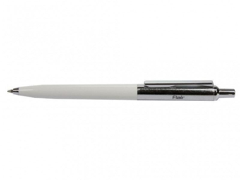 Ручка шариковая Flair Half Metal белая (пишет синим)
