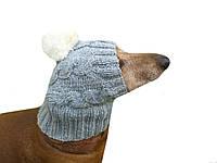 Зимняя шапка для собаки с натуральным помпоном
