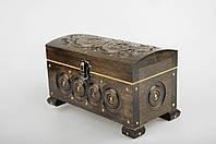 Прямоугольная шкатулка ручной работы из натурального дерева декорированная металлом 18*9*10.5 см, фото 1