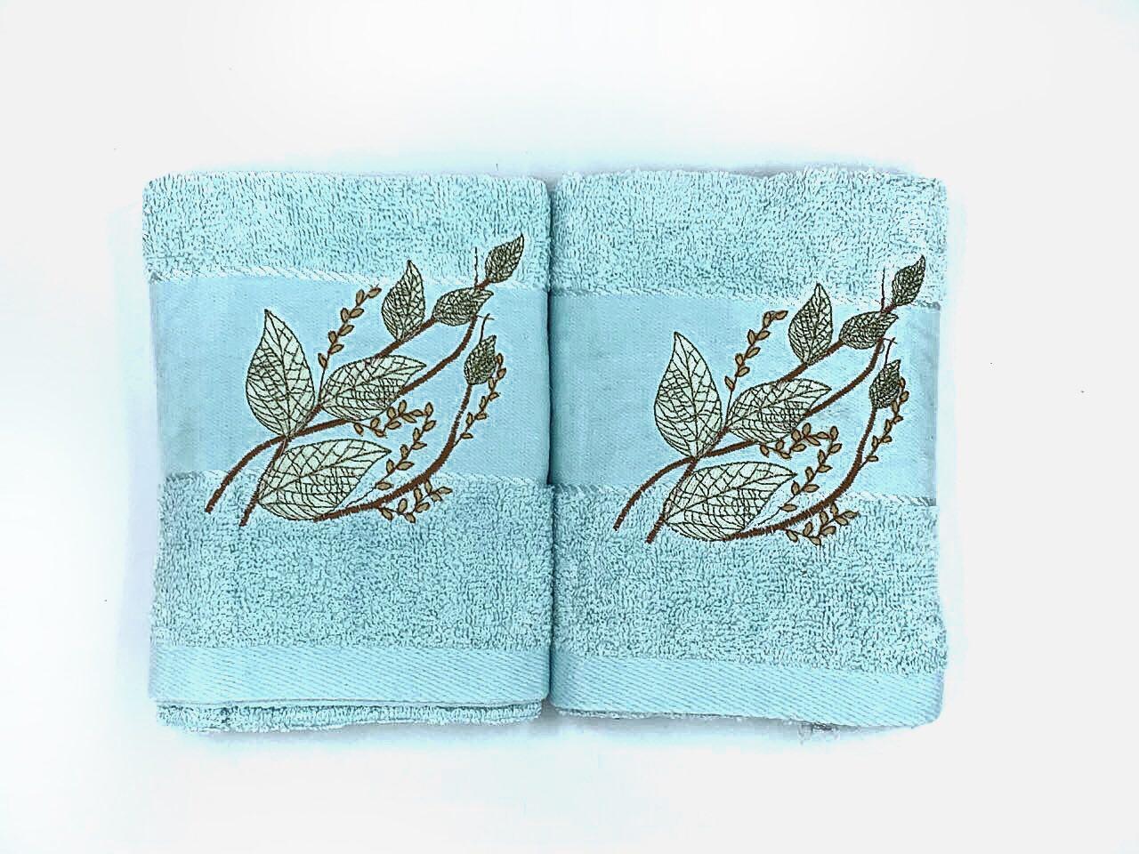 Набор махровых полотенец «Нежный лист» из 2шт. лицевое и банное
