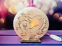 Соляной светильник Влюблённый мишка d 17 см, фото 1