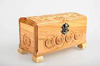 Прямоугольная светлая шкатулка ручной работы из натурального дерева декорированная металлом 18*9*10.5 см, фото 1