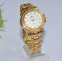 Женские часы Ролекс ( Rolex ) золотые с белым циферблатом, фото 1