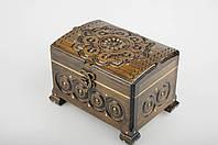 Прямоугольная шкатулка ручной работы из натурального дерева декорированная металлом 16.5*12*11.5 см, фото 1